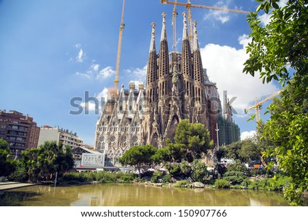 "BARCELONA SPAIN - AUGUST 10: ""La Sagrada Familia"", the cathedral designed by Gaudi, which is being build since 19 March 1882 with the donations of people, on August 10, 2013 in Barcelona Spain"
