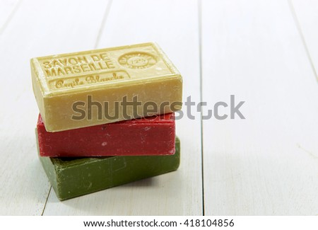 BARCELONA, SPAIN- AUGUST 21: Spa setting with natural soaps and flower for aromatherapy. Barcelona, Spain on August 21, 2015