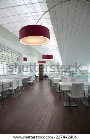 BARCELONA, SPAIN - CIRCA AUGUST 2010: Building architectural detail of the lobby Terminal 1 Barcelona airport. Designed by Richard Bofill architect. - stock photo