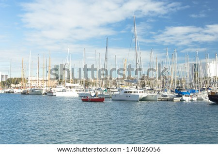 BARCELONA, SPAIN - DEC 28: Yacht boats at the dock port vell Barcelona, ??Spain on December 28, 2013