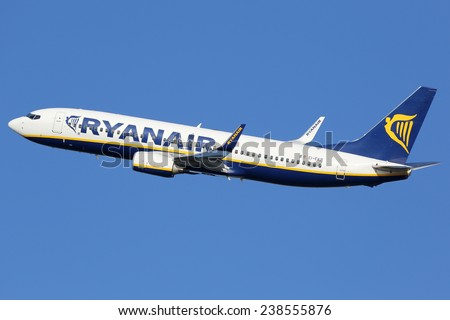 BARCELONA, SPAIN - DECEMBER 11: A Ryanair Boeing 737 taking off on December 11, 2014 in Barcelona. Ryanair is Europe's largest airline with 305 planes and 81 million passengers in 2013. - stock photo