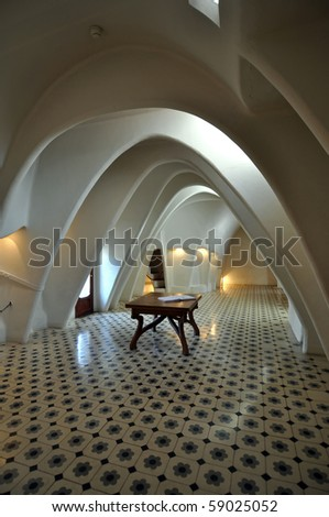 BARCELONA, SPAIN - 30 DECEMBER: Interior of Casa Batllo on December 30, 2009, a building restored by great catalan architect Antoni Gaudi. Gaudi avoids straight lines completely. - stock photo
