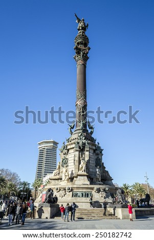 BARCELONA, SPAIN - DECEMBER 21 2014: Monument of Columbus, Barcelona. Spain Columbus stand near street Rambla in Barcelona a in December 21, 2014 in Barcelona, Catallonia, Spain. - stock photo