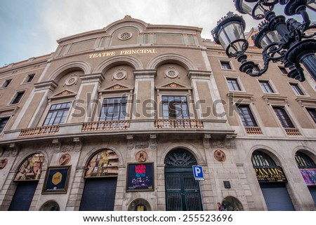 BARCELONA, SPAIN - FEB 9, 2014: Facade of  Teatre Principal at Rambla street in Barcelona Spain on Feb 9, 2014. It is the oldest theater in Barcelona.  - stock photo