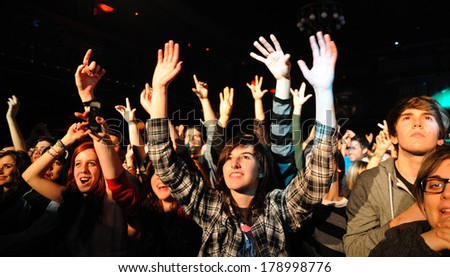 BARCELONA, SPAIN - FEB 09, 2012: The Sounds (Swedish indie rock revival band) performs at Apolo - stock photo