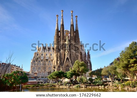 BARCELONA, SPAIN - FEB 2: View of the Sagrada Familia, a large Roman Catholic church in Barcelona, Spain, designed by Catalan architect Antoni Gaud�­, on February 2, 2013. Barcelona - stock photo