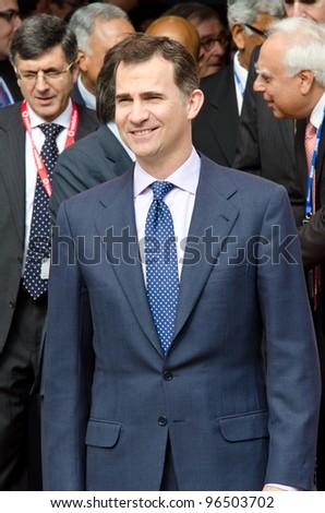 BARCELONA, SPAIN - FEBRUARY 26: HRH The Prince of Asturias Don Felipe de Borba visits the Mobile World Congress 2012, on February 26, 2012 in Barcelona, Spain - stock photo