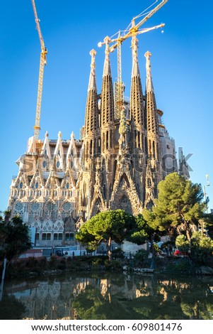 BARCELONA, SPAIN - FEBRUARY 9, 2017: La Sagrada Familia - cathedral designed by Antonio Gaudi and built since 1882, Barcelona, Spain