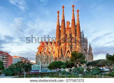 BARCELONA, SPAIN - FEBRUARY 10: La Sagrada Familia - the impressive cathedral designed by Gaudi, which is being build since 19 March 1882 and is not finished yet February 10, 2016 in Barcelona, Spain. - stock photo
