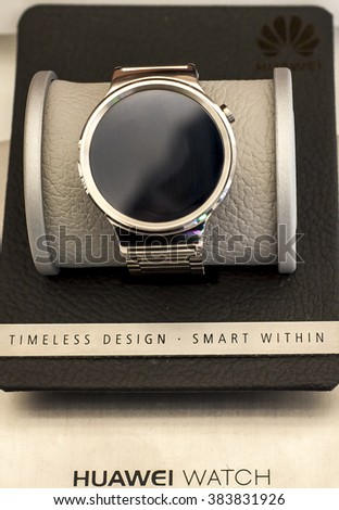 BARCELONA, SPAIN - FEBRUARY 27, 2016: New Huawei Watch presented at Mobile World Centre of Barcelona during Mobile World Congress 2016 in Barcelona, Spain. - stock photo