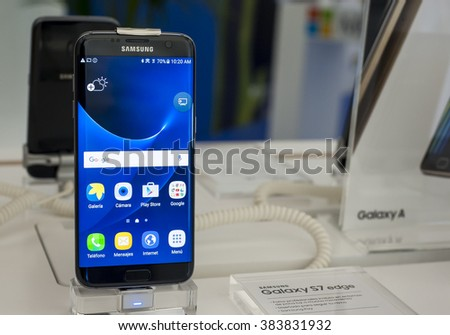 BARCELONA, SPAIN - FEBRUARY 27, 2016: New Samsung Galaxy S7 Edge presented at Mobile World Centre of Barcelona during Mobile World Congress 2016 in Barcelona, Spain. - stock photo