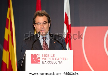 BARCELONA, SPAIN - FEBRUARY 26: The President of the Catalan Government, Artur Mas speaks at the official inauguration act at the Mobile World Congress 2012, on February 26, 2012 in Barcelona, Spain - stock photo