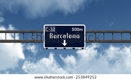 Barcelona Spain Highway Road Sign 3D Illustration - stock photo