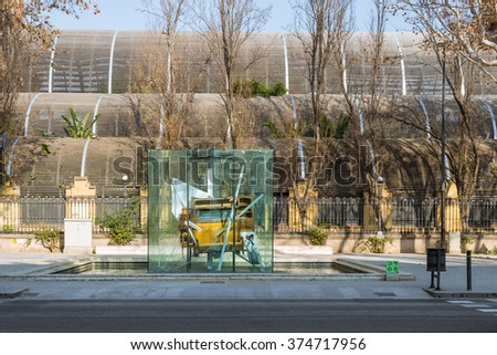BARCELONA, SPAIN - JANUARY 21. Monument Homage to Picasso. Public Art in front of the tropical greenhouse Umbracle in the Citadel Park in Barcelona on January 21, 2016.