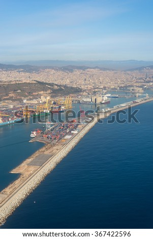 BARCELONA, SPAIN - JANUARY 20. Top view above Zona Franca - Port, the industrial port of Barcelona on January 20, 2016.This industrial area is one of the most important commercial regions in Catalonia - stock photo