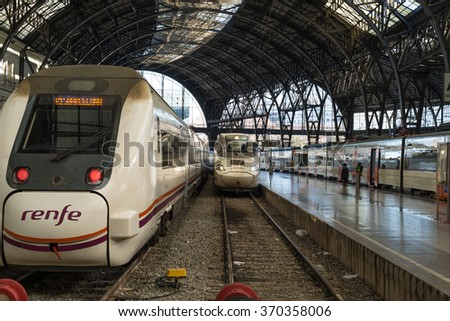 BARCELONA, SPAIN - JANUARY 21. Train arrived the France Station in Barcelona on  January the 21, 2016. The Estacio de Franca is the second busiest railway station of the city after Barcelona-Sants - stock photo