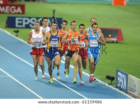 BARCELONA, SPAIN - JULY 29: Competitors of 800m Men during the 20th European Athletics Championships at the Olympic Stadium on July 29, 2010 in Barcelona, Spain - stock photo