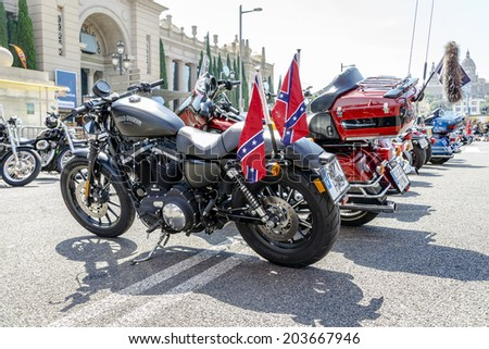 BARCELONA, SPAIN - JULY 05, 2014: Harley Davidson customized for exhibition during BARCELONA HARLEY DAYS 2014