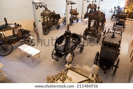 BARCELONA, SPAIN - JULY 20, 2014: Interior of Museu de Carrosses Funebres in Barcelona  - stock photo
