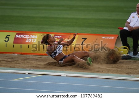 BARCELONA, SPAIN - JULY 13: Jazmin Sawyers from Great Britain win bronze medal in the long jump IAAF World Junior Championships on July 13, 2012 in Barcelona, Spain.