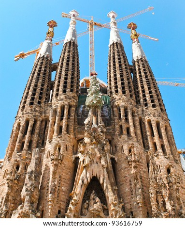 "BARCELONA SPAIN - JULY 25: ""La Sagrada Familia"", the unrealistic cathedral designed by Gaudi, which is being build since 19 March 1882 with the donations of people, on July 25, 2011 in Barcelona Spain"