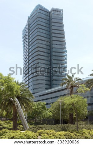 BARCELONA, SPAIN - JULY 7, 2015: New modern architecture in the Diagonal Mar i el Front Maritim del Poblenou area.