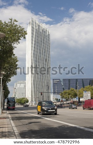 Barcelona, Spain - July 23, 2016: Traffic at Diagonal Mar avenue full of New modern architecture