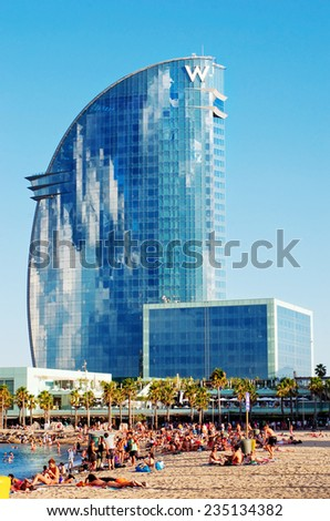 BARCELONA, SPAIN - JULY 20:  W Barcelona Hotel,  known as the Hotel Vela (Sail Hotel), designed by Architect Ricardo Bofill  on July 20, 2014 in Barcelona, Spain. - stock photo