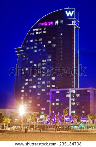 BARCELONA, SPAIN - JULY 20:  W Barcelona Hotel,  known as the Hotel Vela (Sail Hotel), designed by Architect Ricardo Bofill  on July 20, 2014 in Barcelona, Spain.