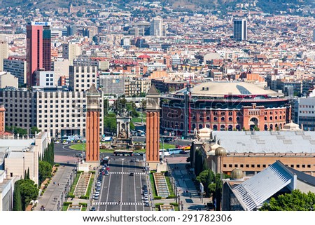 BARCELONA, SPAIN - JUNE 6: Aerial view of Barcelona, Spain, from Montjuic Hill on June 6, 2015. There are many important landmarks, such as Las Arenas or the Venetian Towers - stock photo