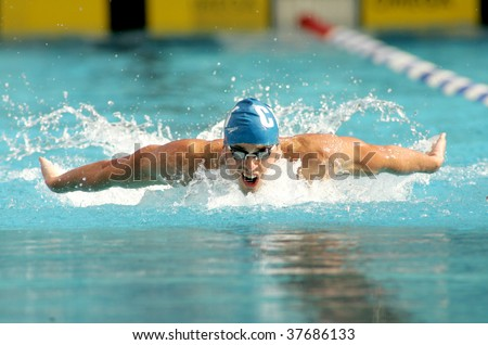 BARCELONA, SPAIN - JUNE 14: American World champion swimmer Davis Tarwater swims butterfly style during the Mare Nostrum meeting in Barcelona's Sant Andreu club, June 14, 2007 in Barcelona, Spain.