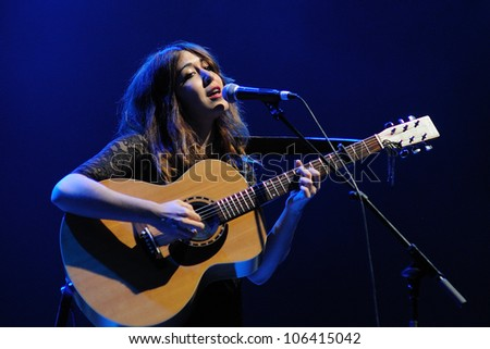 BARCELONA, SPAIN - JUNE 9: Anni B Sweet performs at Sant Jordi Club on June 9, 2012 in Barcelona, Spain during the Porompopero Festival. - stock photo