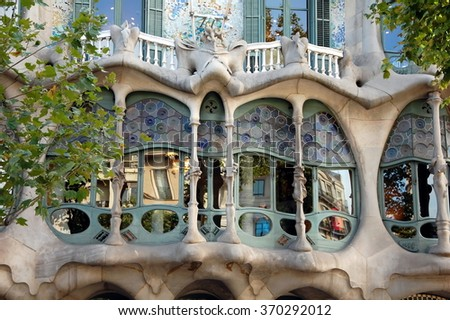 BARCELONA, SPAIN - JUNE 29, 2011 - Architectural detail. Casa Batllo facade in Barcelona, Spain. This famous building was designed by Antoni Gaudi and is one of the most visited of the city - stock photo