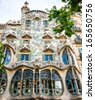 BARCELONA, SPAIN - JUNE 03: Casa Batllo Facade. The famous building designed by Antoni Gaudi is one of the major touristic attractions in Barcelona. June 03, 2013 in Barcelona, Spain - stock