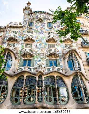 BARCELONA, SPAIN - JUNE 03: Casa Batllo Facade. The famous building designed by Antoni Gaudi is one of the major touristic attractions in Barcelona. June 03, 2013 in Barcelona, Spain - stock photo