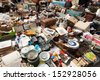 BARCELONA, SPAIN - JUNE 26: Old things at Encants Vells flea market at Glories Catalanes square in June 26, 2013 in Barcelona, Spain. This is one of the oldest markets in Europe  - stock