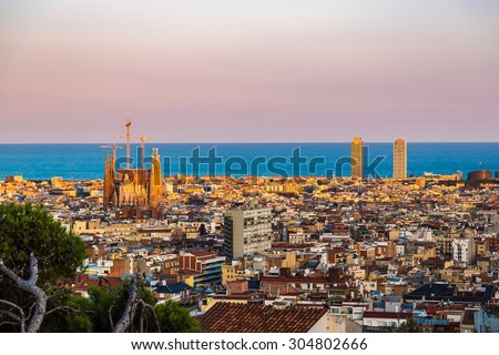 BARCELONA, SPAIN - JUNE 11 : Panoramic view of Barcelona and Sagrada Familia from Park Guell in a summer day in Spain on June 11, 2014 in Barcelona, Spain