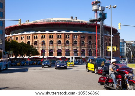 BARCELONA, SPAIN - JUNE 16: Plaza de Espanya and Arenas bullring on June 16, 2012 in Barcelona, Spain. The old bullring, built in 1900, is since 2011 a shopping and leisure center - stock photo