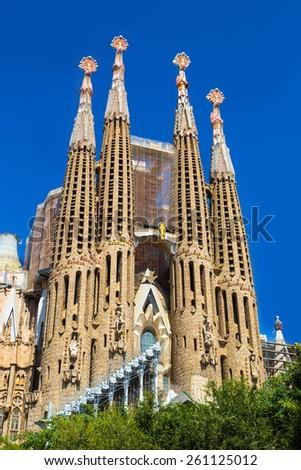 BARCELONA, SPAIN - JUNE 11 : Sagrada Familia  in Barcelona in Spain in a summer day on June 11, 2014 in Barcelona, Spain - stock photo