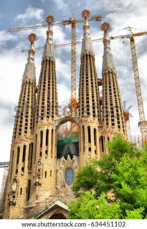 Barcelona, Spain - June 09, 2011: The construction of the La Sagrada Familia cathedral by Antoni Gaudi in Barcelona