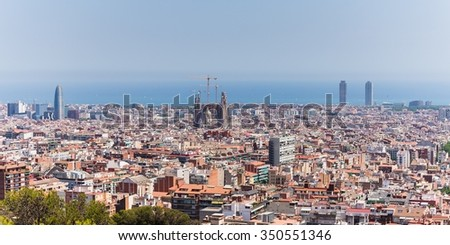 barcelona, spain - june 28, 2015 - view over the city with ocean in the back
