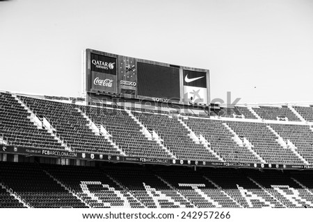 BARCELONA, SPAIN - MAR 15, 2014: Camp Nou Stadium. Camp Nou is the home arena for FC Barcelona and seats 99786 people.