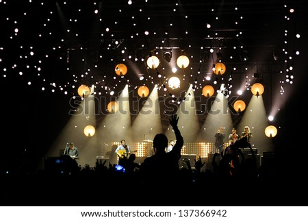 BARCELONA, SPAIN - MAR 20: Mumford and Sons band performs at Sant Jordi Club on March 20, 2013 in Barcelona, Spain. - stock photo