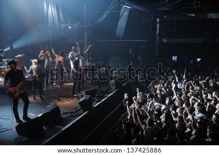 BARCELONA, SPAIN - MARCH 18: Fans of Dorian, spanish famous band, at Razzmatazz on March 13, 2011 in Barcelona, Spain. - stock photo