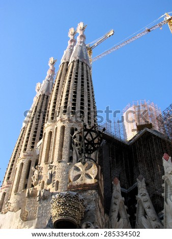 BARCELONA, SPAIN - MARCH 24: Sagrada Familia towers on March 24, 2011 in Barcelona.The building designed by Antonio Gaudi is still unfinished. - stock photo