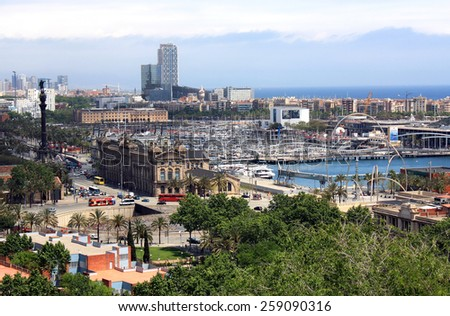 BARCELONA, SPAIN - MAY 11, 2013: Aerial view of Barcelona, located in the northeastern part of the Iberian Peninsula, on the Mediterranean coast.