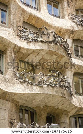 BARCELONA, SPAIN - MAY 31 Architecture detail of Casa Mila, better known as La Pedrera, designed by Antoni Gaudi, in Barcelona, Spain, on May 31, 2013. It�´s the best exponent of modernist architecture - stock photo