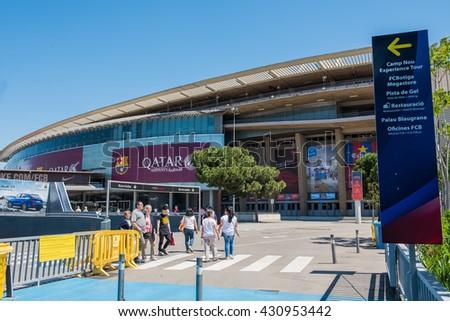 BARCELONA, SPAIN - MAY 28, 2016: CAMP NOU. Camp Nou Stadium. The stadium of Football Club Barcelona team. - stock photo