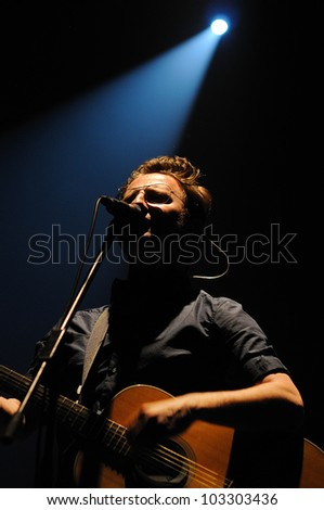 BARCELONA, SPAIN - MAY 3: David Caraben, singer of the catalan band Mishima, performs at Teatre Lliure on May 3, 2012 in Barcelona, Spain. - stock photo