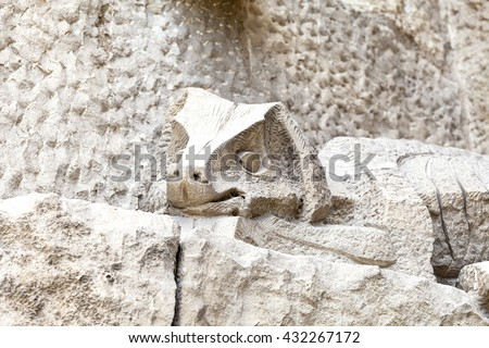 BARCELONA, SPAIN - MAY 13, 2016 :Details of Sagrada Familia, church  designed by  Gaudi.Catholic church still built since March 1882, is a combination of Gothic style and curvilinear Art Nouveau forms - stock photo